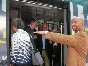 MARTA's Keith Parker helps Atlanta group board rail car (Photo: Maria Saporta)