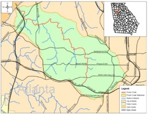 Environmental clean-up jobs will be created as a result of the inclusion of the Proctor Creek basin, in green, in the federal Urban Waters Partnership Program. Credit: City of Atlanta