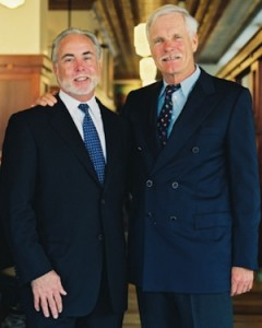 George McKerrow, left, with Ted Turner at their restaurant
