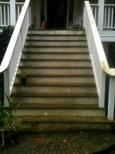 Photo of slippery steps from Atlanta's monsoon weather.