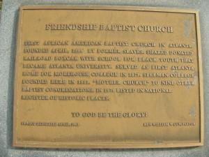 Plaque in front of Friendship Baptist Church