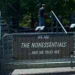 Photo of The Nonessentials band banner.