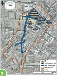The planned $1 billion redevelopment of the Gulch encompasses an area around the railroad corridor. Credit: GDOT