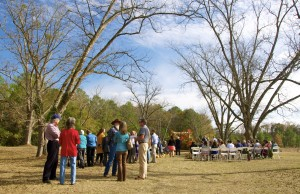 The wedding altar was beneath the pecan trees at the end of a path that's featured on the farm's webpage. Credit: Donita Pendered