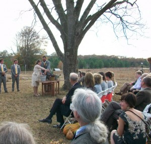 The wedding couple planted a rosemary shrub to signify their vows. Credit: David Pendered
