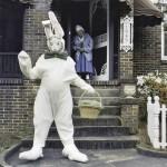 Photo of Walton's mom, Claude Walton (in doorway) during Easter.