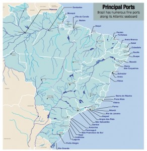 """Brazil is served by seaports scattered along the coast, providing access mainly to trade with the United States and European countries. Credits: """"Brazilian Ports: A Safe Haven for International Investment"""", utexas.edu"""