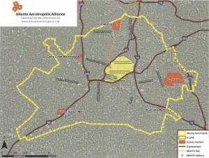 The proposed boundaries of the Atlanta Aerotropolis Alliance are expected to change as civic leaders in additional areas seek membership. Credit: ARC