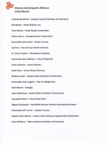 The initial board of the Atlanta Aerotropolis Alliance includes these members. Credit: ARC