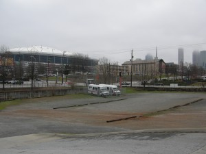 Central's parking lot. The land that might need to be acquired is where the buses are located. Georgia Dome is in the background