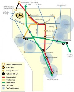 This is the vision for a proposed Clayton County transit system in 2025, if voters approve a 1 percent sales tax for public transit and Norfolk Southern agrees to allow passenger service to be offered in its rail corridor. File/Credit: Clayton County