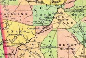 This map from 1834 shows a road connecting Decatur and Campbellton before Atlanta and Fulton County were created. Credit: georgiainfo.galileo.usg.edu