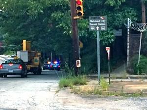 Atlanta police maintain a presence along Campbellton Road near Fort McPherson. Credit: Donita Pendered