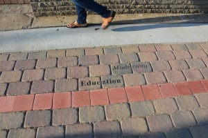 A timeline in the brick sidewalk in front of Mall West End reminds pedestrians of the neighborhood's history. Credit: Donita Pendered