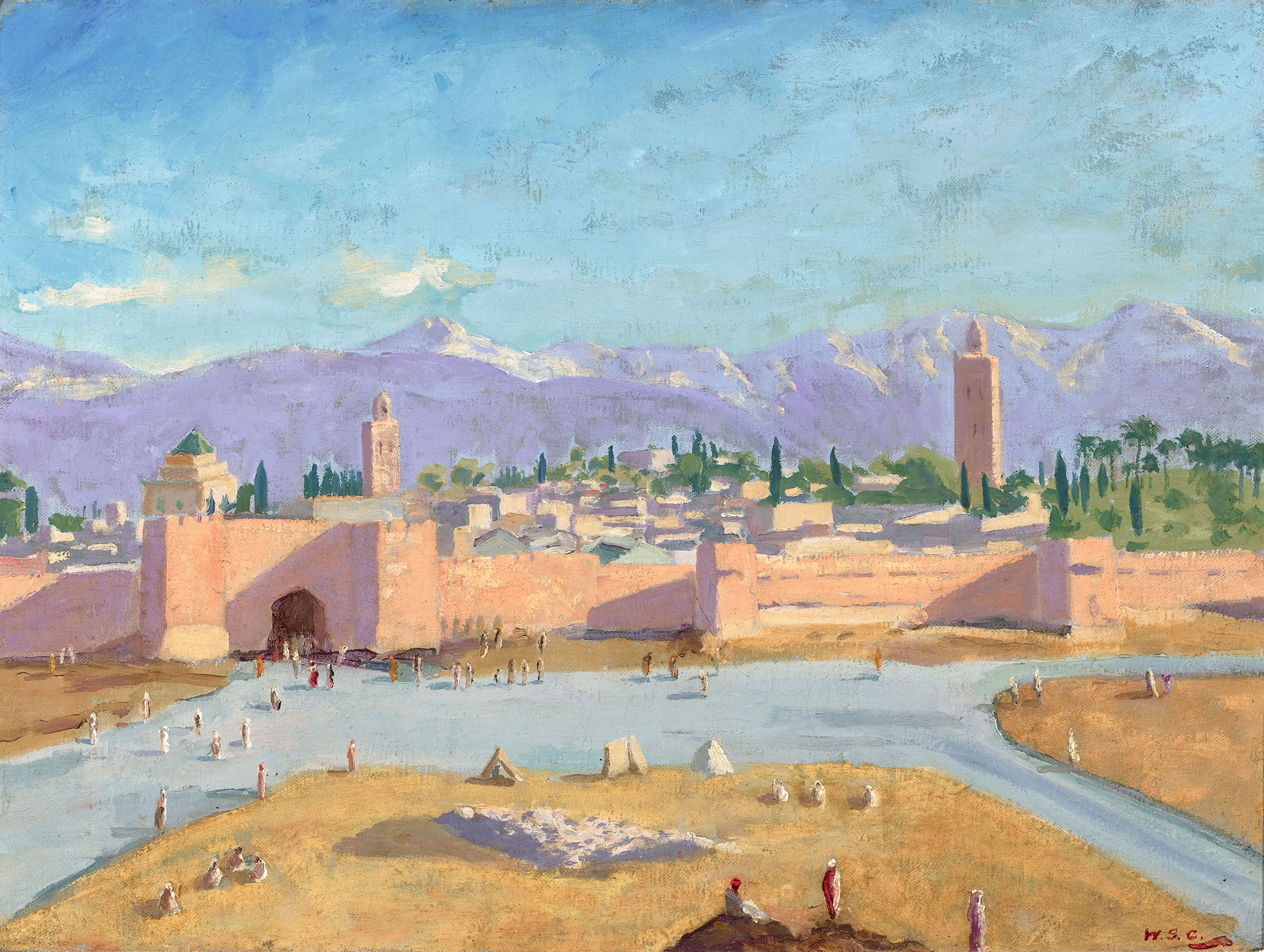 """""""The Tower of Katoubia Mosque"""" (1943) the only painting made by Winston Churchill during WWII. He painted this after he and FDR met in Marrakesh, and later gave it to FDR. Credit: Rau Antiques"""