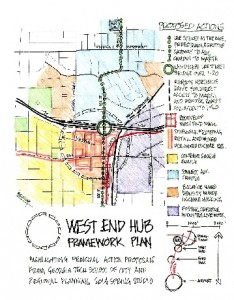 Georgia Tech students have proposed a framework for redeveloping the West End commercial district and its environs. File/Credit: Georgia Tech