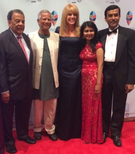 Andrew Young, Muhammad Yunus, Laura Turner Seydel, Shamima Amin and Mohammad Bhuiyan at the Gala Celebration