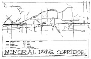 Mike Dobbins freehand drawing of the Memorial Drive corridor helped establish the parameters of the studio. File/Credit: Mike Dobbins
