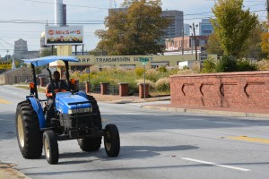 A tractor happened to be one of a few vehicles that traveled along  Memorial Drive Monday afternoon. Credit: Donita Pendered