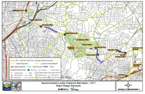 The proposed rail linne to serve the Clifton Road corridor would be built through densely developed neigbhorhoods. Credit: MARTA