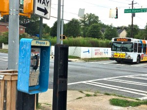Pay phones are a rare sight in metro Atlanta, but still exist near Turner Field, in a photo taken in July. Credit: Donita Pendered