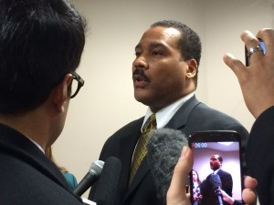 Dexter King continues to take more questions from the press