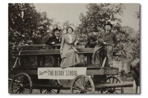 Postcard of Teddy Roosevelt (right), touring the Berry School with Martha Berry. Credit: Oak Hill and the Martha Berry Museum