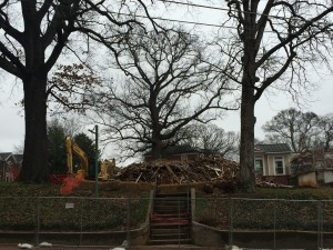 Remnants of the historic home at 6th and Juniper on March 13 - the day of demolition