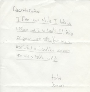 A fan letter from a schoolchild in Arkansas whose teacher wore a C Glass belt buckle.