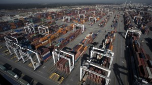 The Savannah port managed its busiest month in history in Ocdtober, when this photo was taken, until even more containers were handled in March. Credit: GPA