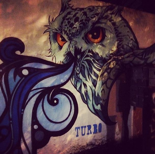 Owl mural on the Atlanta BeltLine by Lina Skandalakis