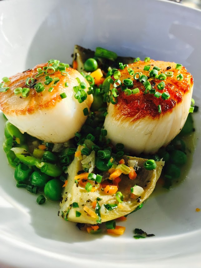 Spring has arrived. Scrumptious Seared Sea Scallops at Century House Tavern prepared by Chef Daniel Porubiansky. Photo by Erica Key