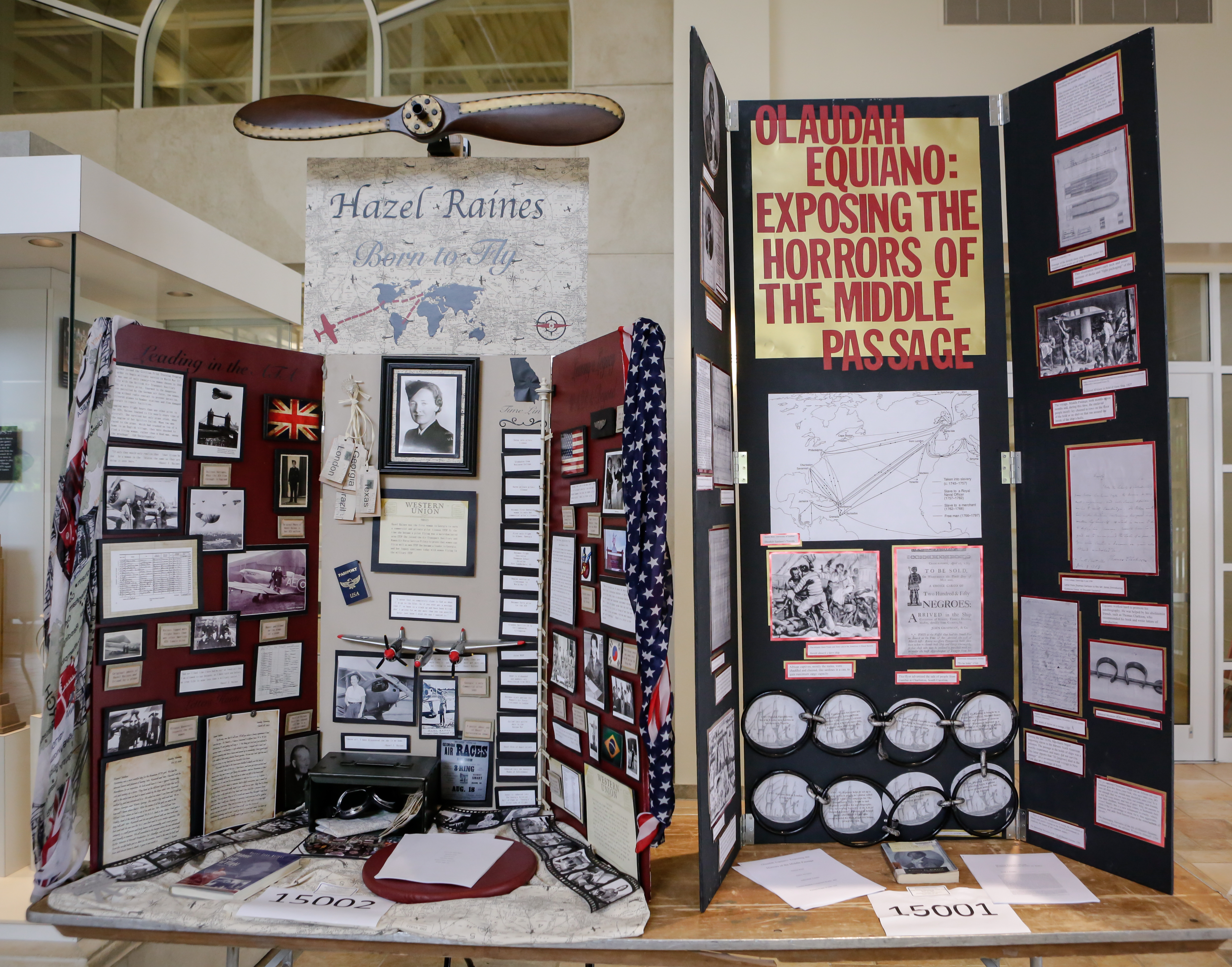 Student National History Day exhibitions on Hazel Raines, Georgia's first female pilot,  and Olaudah Equiano, slave-narrative writer and, after freedom, seafarer.