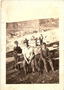 Dad, left, in the early 1940s with Gramps, overlooking  the Snake River Canyon in Idaho where he helped build a beautiful golf course. On the right are my grandmother Valna Hiskey and uncle, Babe Hiskey