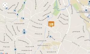 The Edmund Park neighborhood is located between Morningside/Lenox Park and Druid Hill. Credit: postlets.com