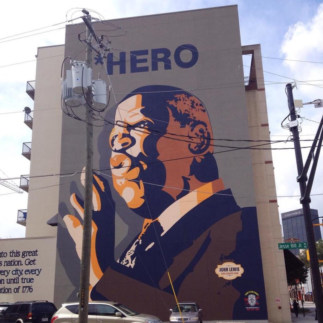 John Lewis Hero Mural on Auburn Ave by Wendy Darling