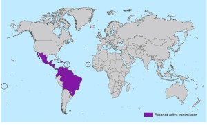 Zika, CDC, areas with active transmission