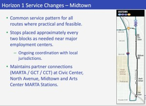 GRTA plans to locate stops every two blocks in Midtown, as needed, and maintain stops at MARTA stations where passengers shift to other transit systems. Credit: GRTA