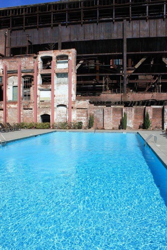 Swimming pool at Fulton Bag and Cotton Mill lofts in Cabbagetown by Chad Carlson