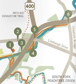 Peachtree Creek, trail map