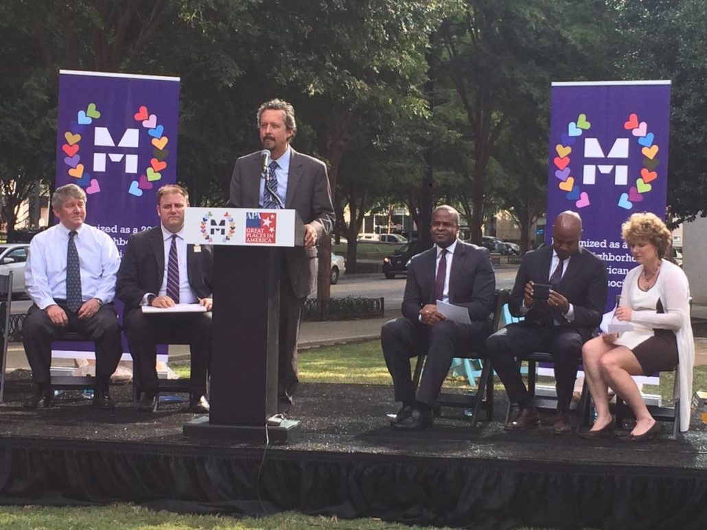 Left-to-right: Joe Bankoff, chairman of the Midtown Alliance; Corey Hull, president of APA (American Planning Association) – Georgia Chapter; Midtown Alliance CEO Kevin Green; Atlanta Mayor Kasim Reed; Atlanta City Councilman Kwanza Hall; and Midtown Alliance COO Shannon Powell (Photo by Maria Saporta)