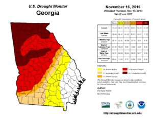 A drought report issued Tuesday shows the extent of the areas affected by extreme drought in Georgia. Credit: National Weather Service