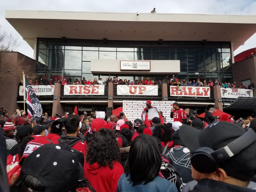 Jim Elgar captured this image at the Rise Up Rally for the Atlanta Falcons this weekend.