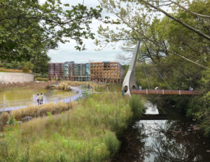 Rendering of PATH trail along the Proctor Creek Greenway near the MARTA Station (