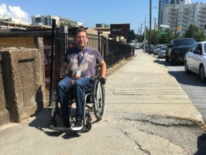 James Curtis says he wants to know why Peachtree Road, Atlanta's main artery and one he uses often, lacks good sidewalks. Credit: Maggie Lee