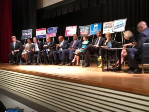 Atlanta mayoral candidates on stage for the arts forum Monday night. Credit: Maggie Lee