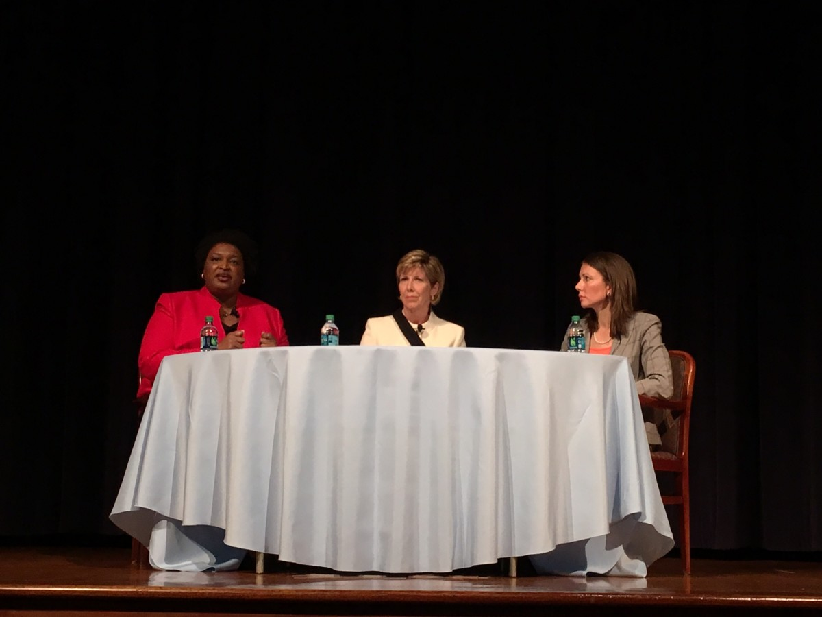 "Former Georgia Secretary of State Cathy Cox, center, moderated a ""conversation"" between Georgia Democratic gubernatorial hopefuls Stacey Abrams (left) and Stacey Evans (right) at a Carter Center forum on Monday night. Credit: Maggie Lee"