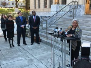 Former Atlanta Mayor Shirley Franklin endorsed mayoral candiate Mary Norwood on the steps of City Hall Monday. Norwood, at left, also got endorsements folks she bested in the first round of voting: former city COO Peter Aman and outgoing City Council President Ceasar Mitchell. Credit: Maria Saporta
