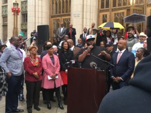 Killer Mike, at City Hall on Thursday, calls for Atlanta to get out and vote for Keisha Lance Bottoms.