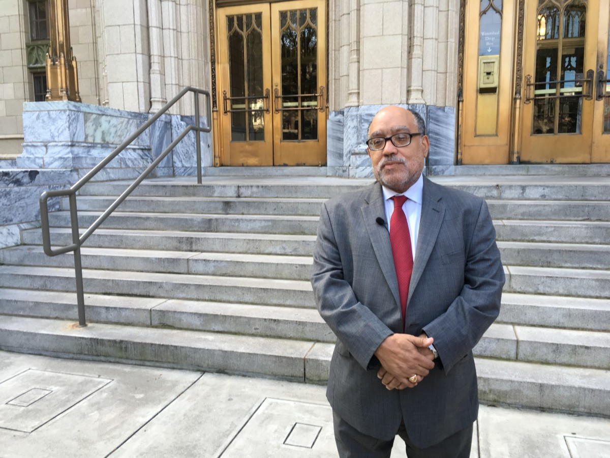 Vincent Fort, who got about 10 percent of the city's votes as a mayoral candidate, said on Wednesday at City Hall that he's not endorsing either runoff candidate but urged them to look to his platform. Credit: Maggie Lee